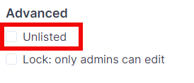 Unlisted checkbox
